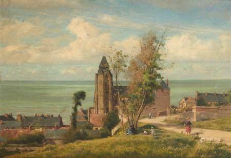 Eugène BERTHELON (1830 - 1914) Village en bord de mer, 1875 Huile sur toile, signée [...]