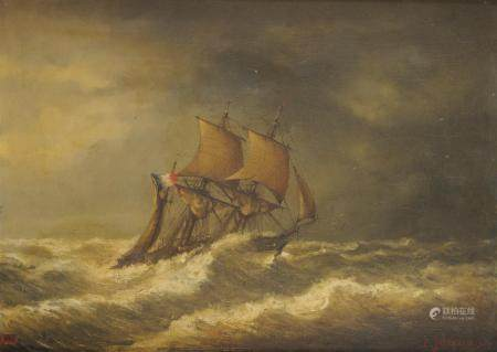 E. JABONEAU Navire français dans la tempête Huile sur panneau Signé et daté 76 en [...]