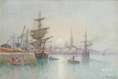 Louis Étienne TIMMERMANS (1846 - 1910) Rouen, l'entrée du port Aquarelle, signée [...]