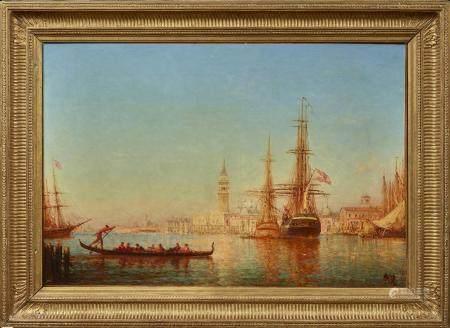 Félix ZIEM (1821 - 1911) Flotte dans le Bassin de Saint Marc Huile sur toile, [...]