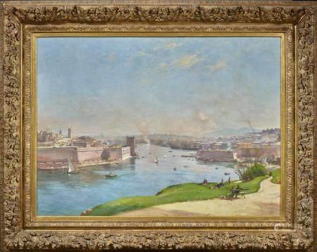 Étienne Philippe MARTIN (1856/58 - 1945) Marseille, l'entrée du vieux port Huile [...]