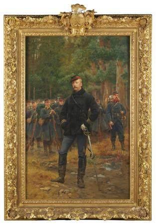 Basile LEMEUNIER (1852-1922) Portrait du Président Félix Faure au combat Huile sur [...]