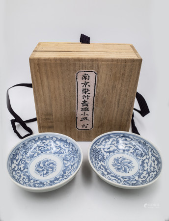PAIR BLUE AND WHITE PLATES QING DYNASTY