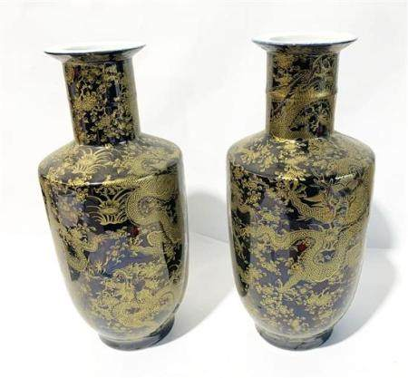 A Tall Pair of Mirror Black Vases with Gilt Decoration the R