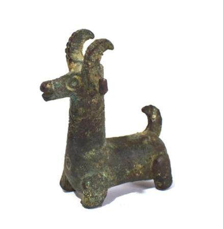 An Indo-Iranian Neolithic Bronze Alloy Seated Ibex,