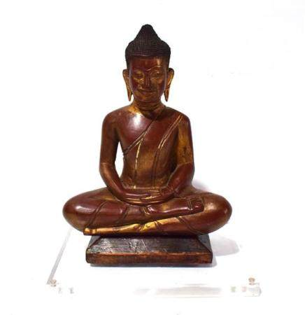 A Finely Carved Lacquer & Gilt Wood Buddha, Thailand, after