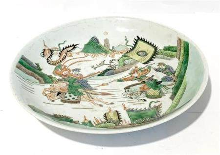A Chinese Famille Verte Dish Decorated with a Battle Scene &
