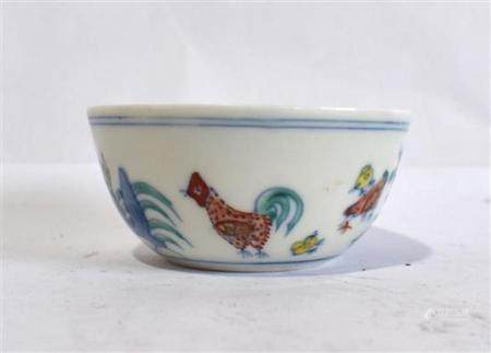A Chinese Doucai Chicken Cup, Chenghua Mark to the Base,