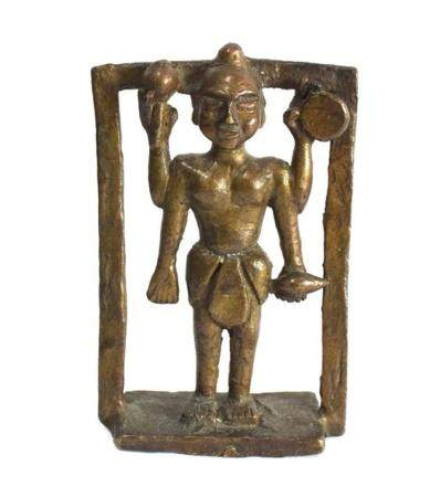 A Bronze Alloy Hindu Four Armed Figure Holding Musical Instr