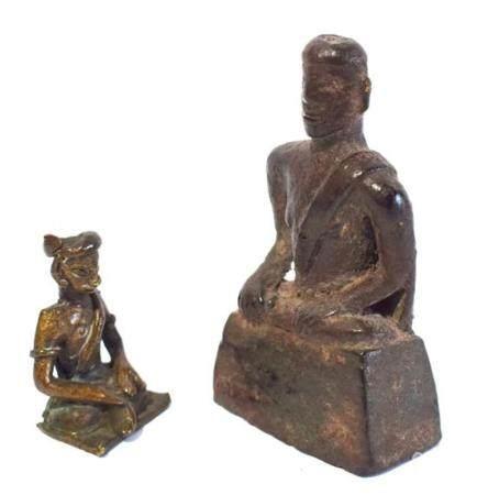 A Metal Alloy Buddha Seated on a High Rectangular Plinth & a