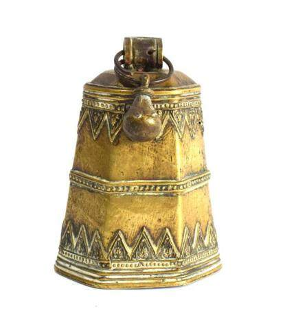 An Unusual Hexagonal Shaped Bronze Alloy Bell, with Two Band