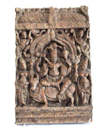A Carved Indian Panel of Lord Shiva on the back of Nandi the