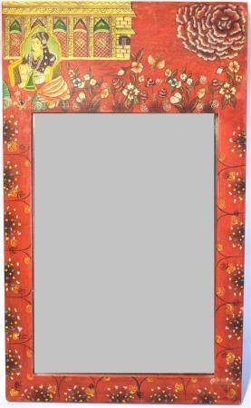 A Brightly Painted Indian Frame with Mirror, 20th C.,