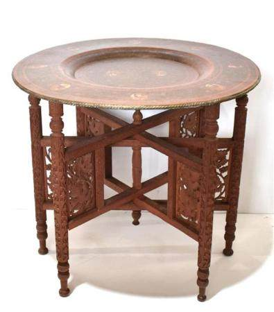 An Indian Side Table with Copper Tray Elaborately Painted wi