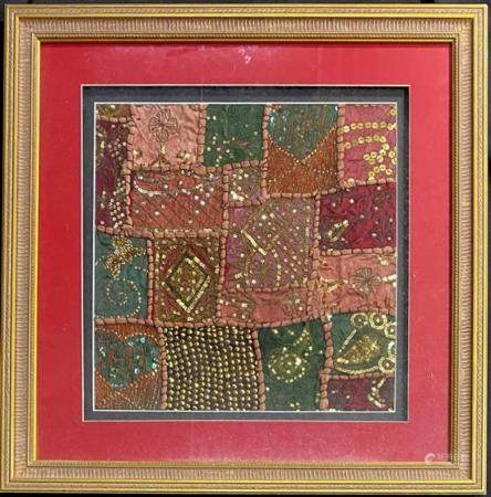 An Gold Thread & Sequins Embroidered Square, Mounted & Frame