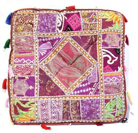 A Brightly Embroidered Indian Cushion Cover with Tassles,