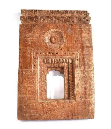 A Carved Wood Deity Shrine Facade an Architectural Model, Ra