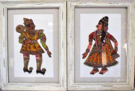 Two Indian Framed Puppets,