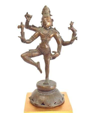 A Bronze Alloy Four Armed Dancing Shiva, each Hand Holding a