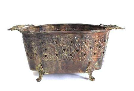 An Anglo-Indian Repoussé Brass Basket with a Pierced Band &
