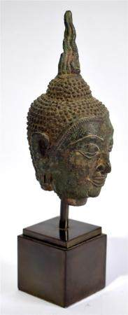A Thai Bronze Buddha Head with Classic Features & Tight Curl