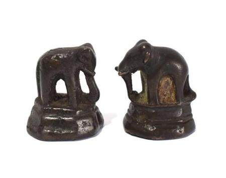 Two Rare Bronze Alloy Elephant Weights, Standing on Raised P