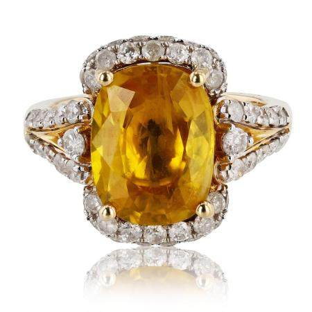 5.59ct Yellow Sapphire and 1.21ctw Diamond 14K Yellow Gold Ring