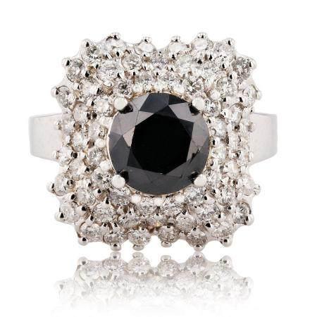 2.66ct Black Diamond 18K White Gold Ring (3.96ctw Diamonds)