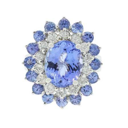 3.98ctw Tanzanite and 0.78ctw Diamond 14K White Gold Ring