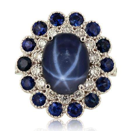 9.12ctw Blue Sapphire and 0.55ctw Diamond 14KT White Gold Ring
