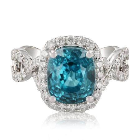 8.16ct Zircon and 1.01ctw Diamond 14K White Gold Ring