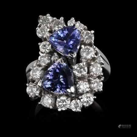 3.57ctw Tanzanite and 2.07ctw Diamond 14K White Gold Ring