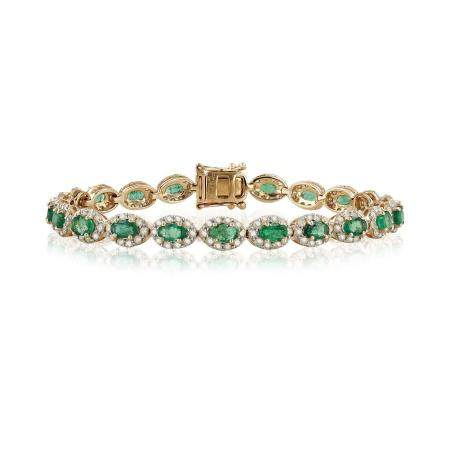 4.91ctw Emerald and 3.47ctw Diamond 14KT Yellow Gold Bracelet