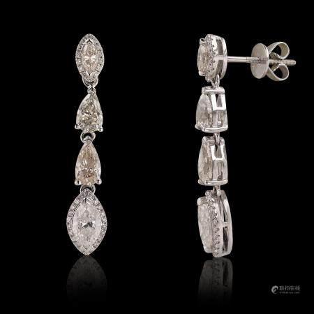 3.35ctw Diamond 18K White Gold Earring