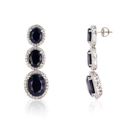 30.63ctw Blue Sapphire and 2.46ctw Diamond 14K White Gold Earring
