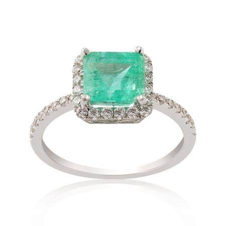 1.77ct Emerald and 0.43ctw Diamond 18KT White Gold Ring