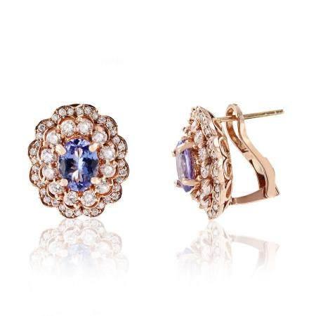 2.64ctw Tanzanite and 1.39ctw Diamond 14K Rose Gold Earrings