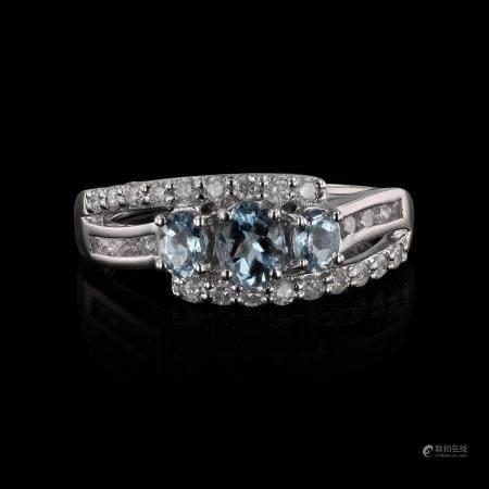 0.57ctw Aquamarine and 0.39ctw Diamond 14K White Gold Ring