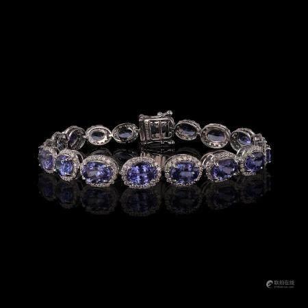 17.82ctw Tanzanite and 3.16ctw Diamond 14K White Gold Bracelet