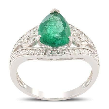 2.22ct Emerald and 0.35ctw Diamond Platinum Ring