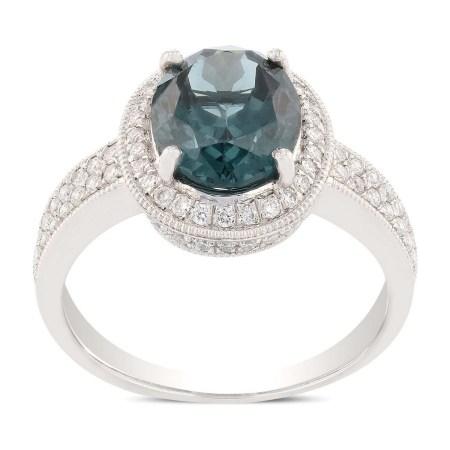 3.27ct Blue Sapphire and 0.52ctw Diamond Platinum Ring