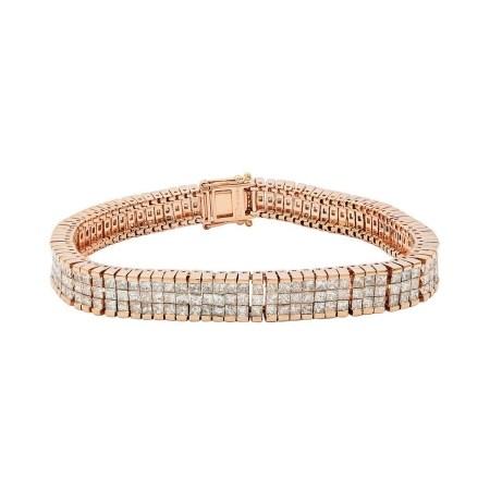 10.94ctw Diamond 14KT Rose Gold Tennis Bracelet