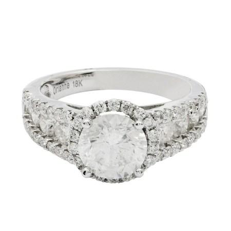 1.64ct CENTER Diamond 18KT White Gold Unity Ring (2.78ctw Diamonds)