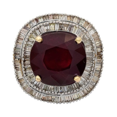 28.10ct Ruby and 4.17ctw Diamond 18KT White Gold Ring