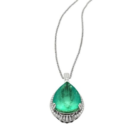 20.29ct Emerald and 0.74ctw Diamond Platinum Pendant/Necklace