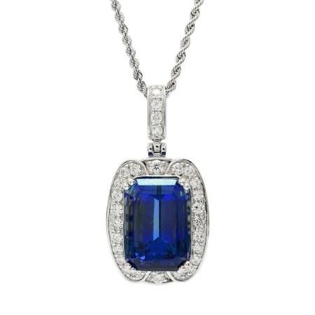 18.83ct Tanzanite and 1.12ctw Diamond Platinum Pendant/Necklace (GIA CERTIFIED)