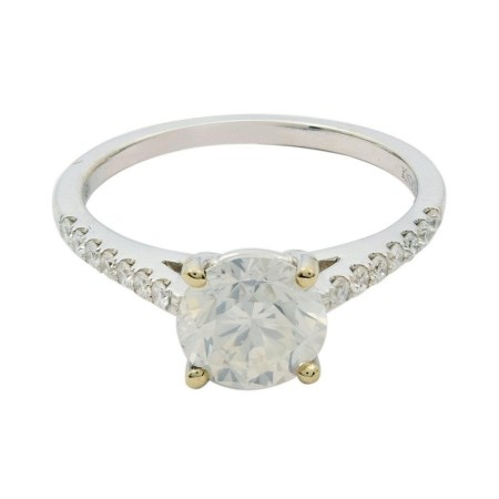 1.50ct SI2 CLARITY CENTER Diamond 18KT White Gold Unity Ring (1.67ctw Diamonds)