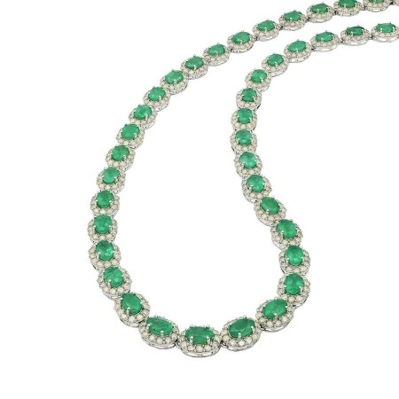 18.65ctw Emerald and 9.83ctw Diamond 14KT White Gold Necklace