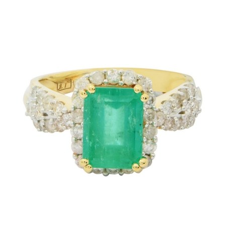 2.18ct Emerald and 0.80ctw Diamond 14KT Yellow Gold Ring