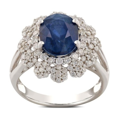 3.98ct Blue Sapphire and 0.84ctw Diamond 14KT White Gold Ring